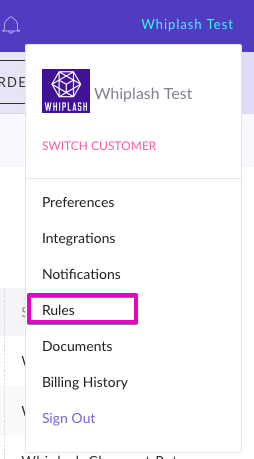 Rules link on Whiplash navigation sidebar