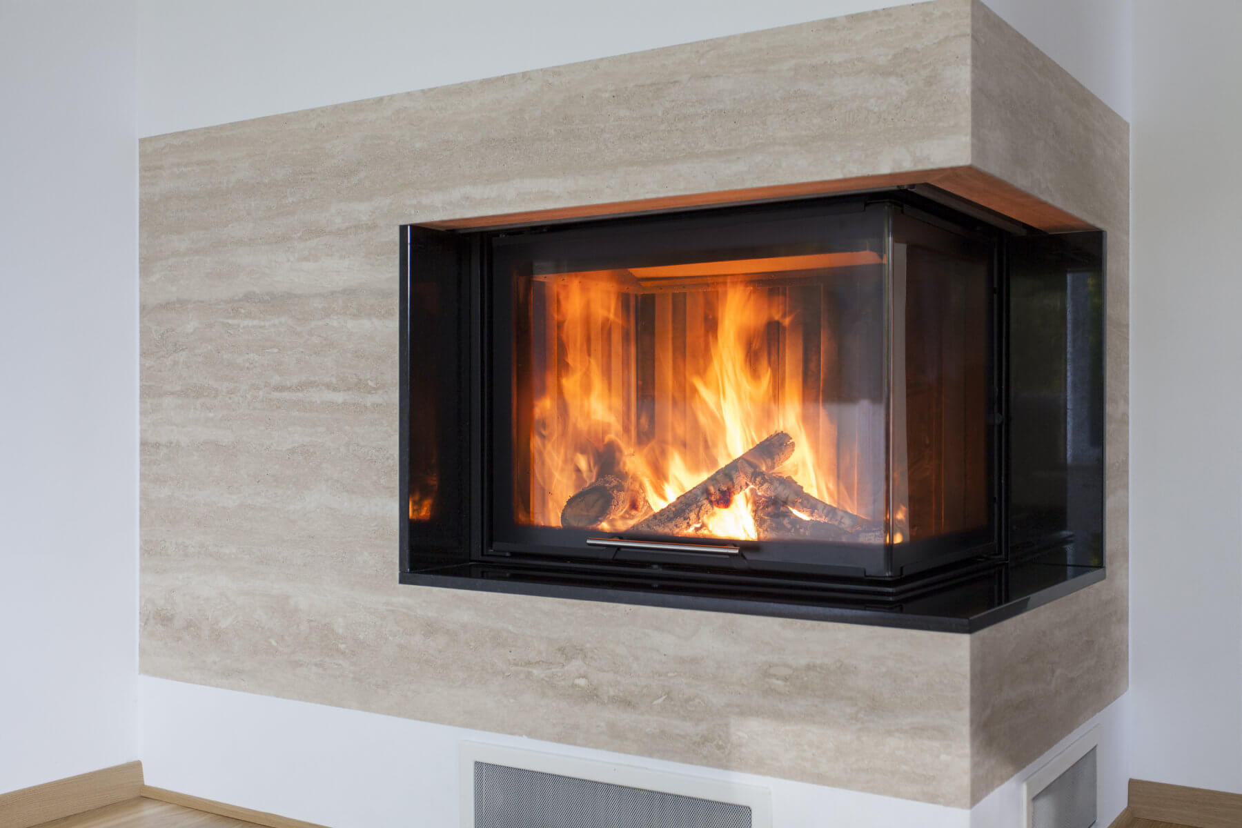 Modern propane fire place