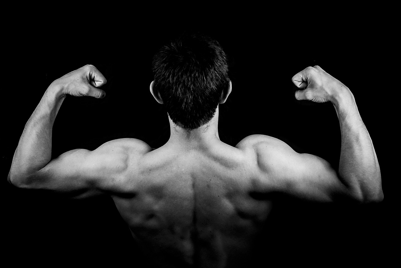 man and muscled back
