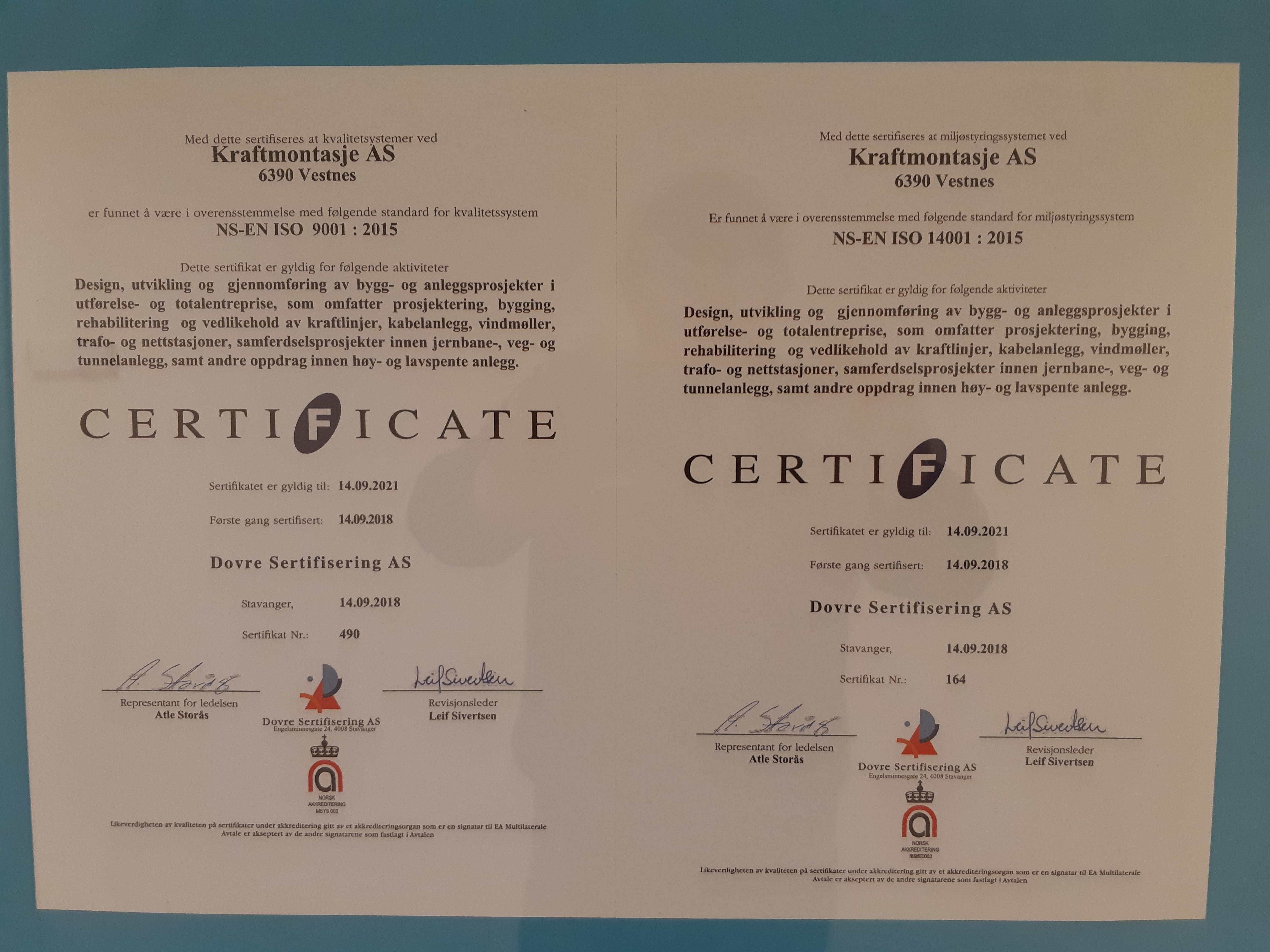 Kraftmontasje er ISO-sertifisert