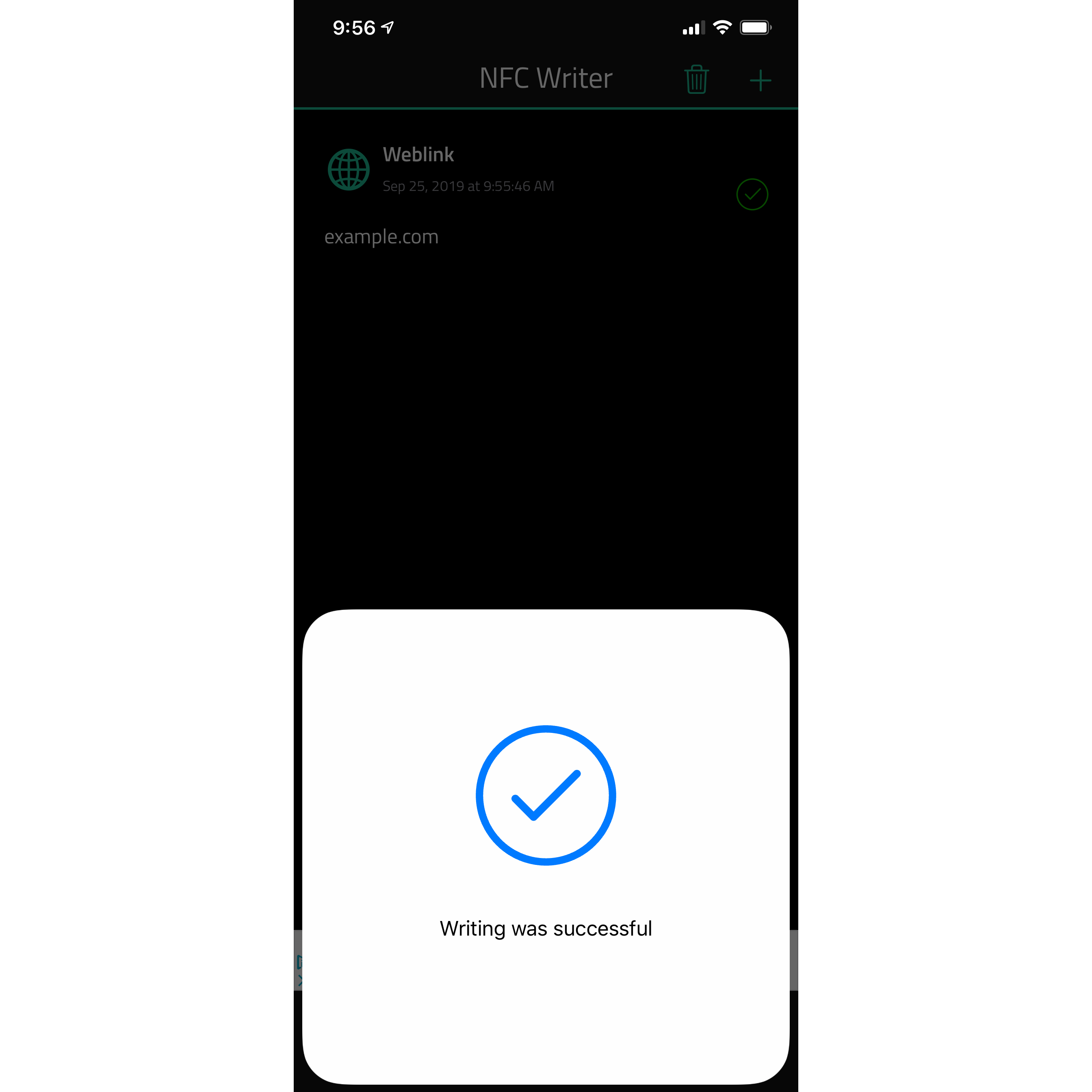 Write NFC success on iPhone and iOS 13