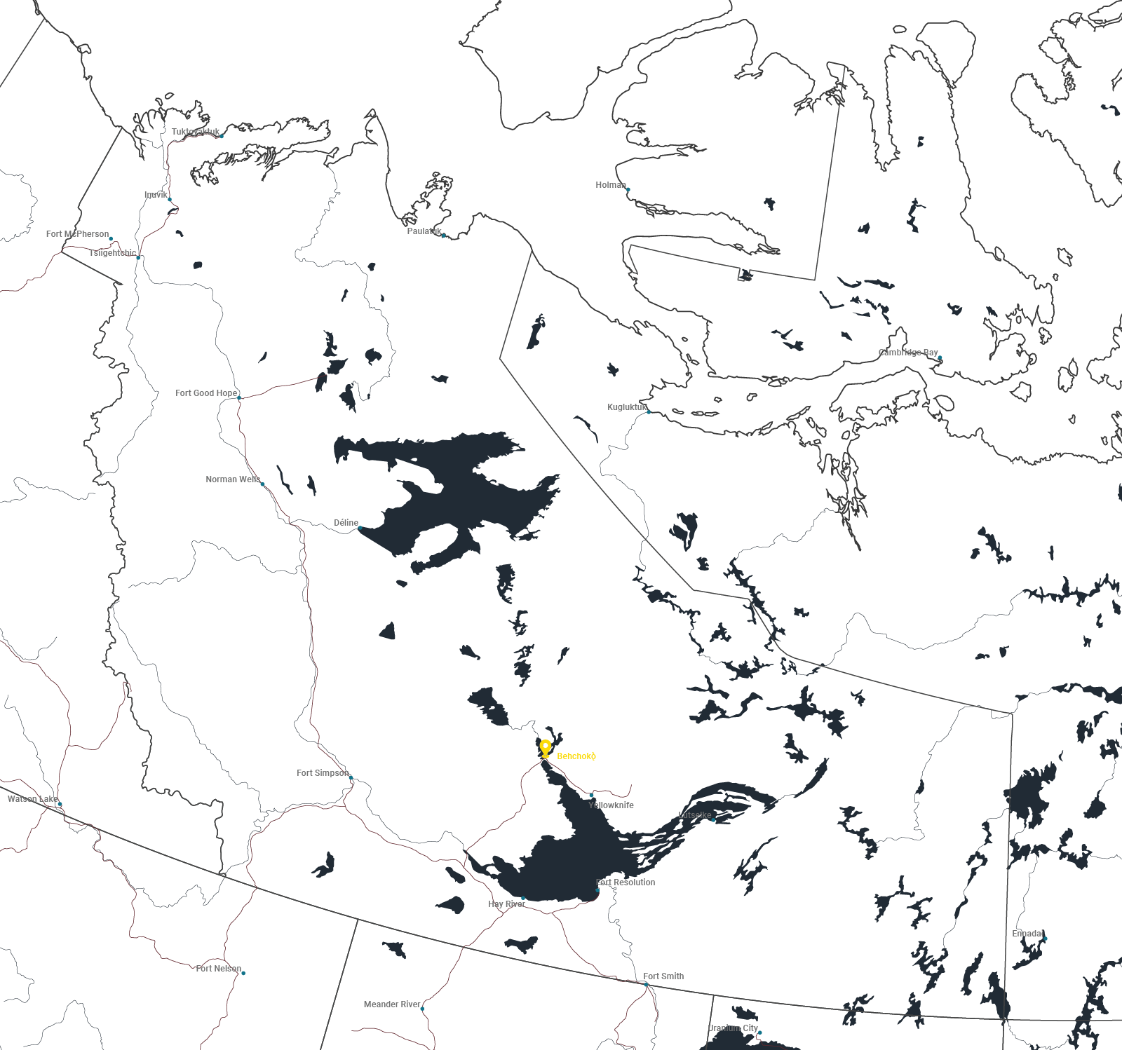 Map of Behchokǫ̀, Northwest Territories.
