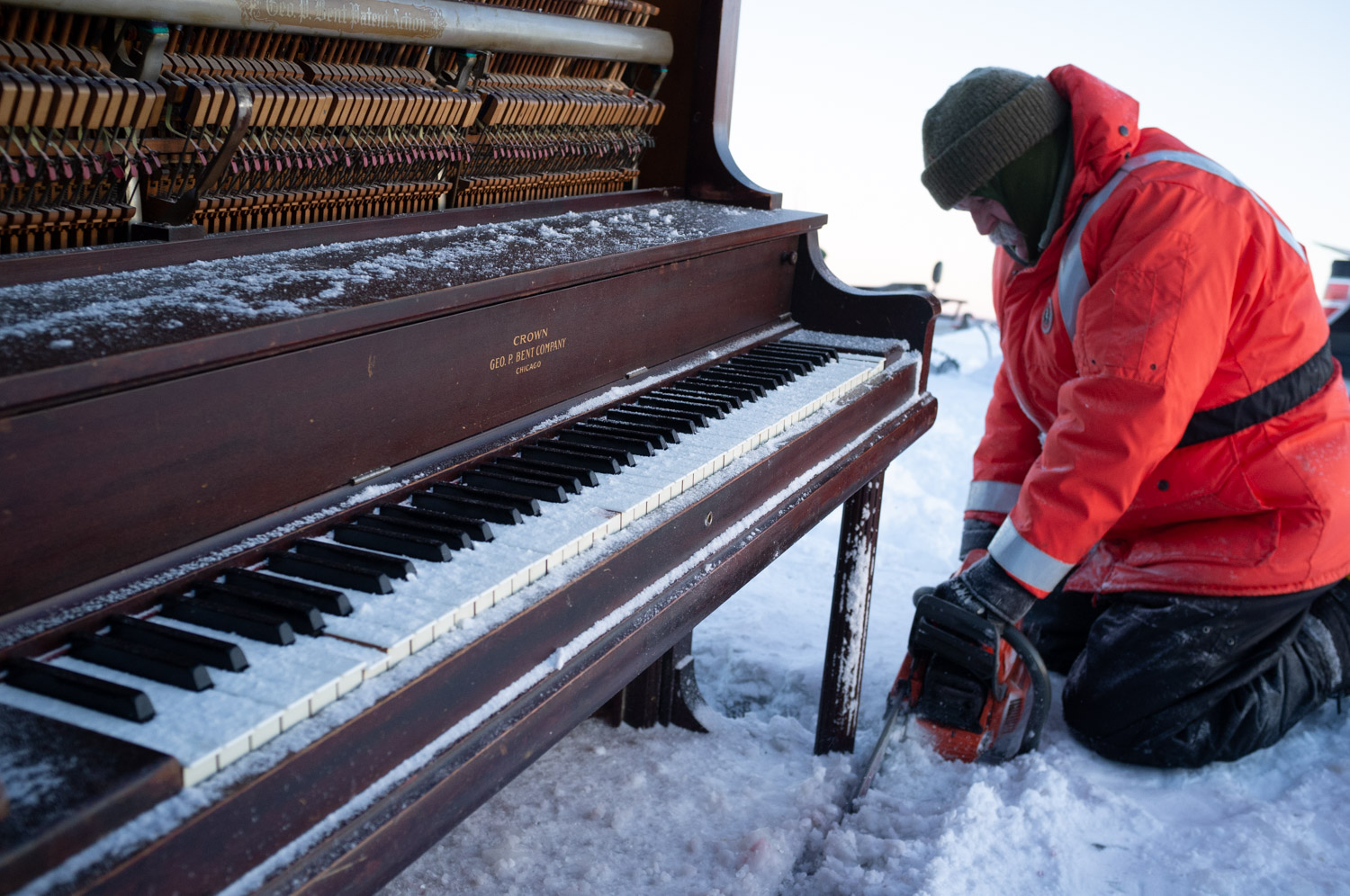 Freezing piano in the ice for Northern Sights 360 vr project.
