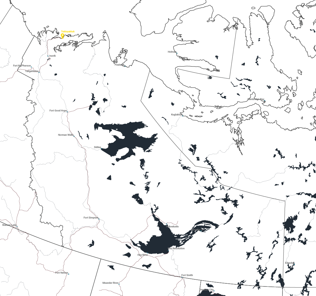 Map of Tuktoyaktuk, Northwest Territories.