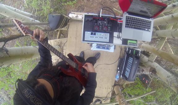 Casey Koyczan on guitar in 360 video performance.