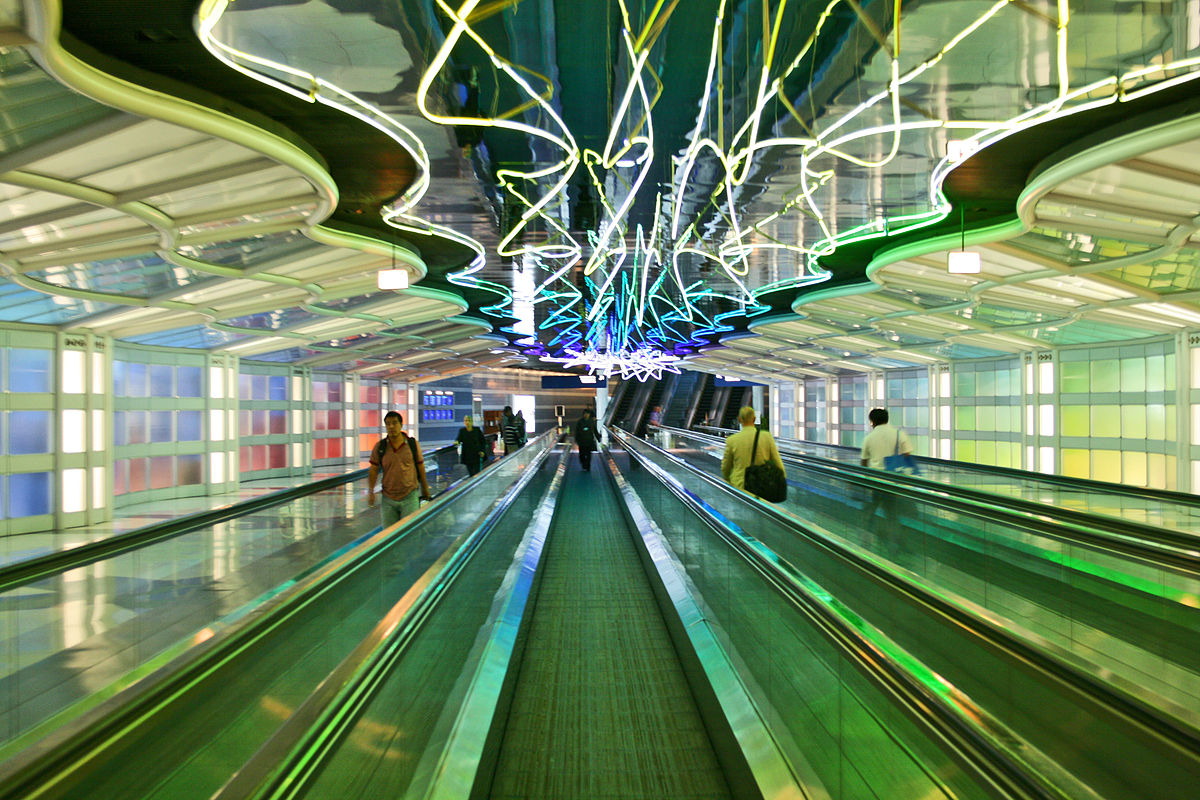 colorful lights over walkway in O'Hare Airport
