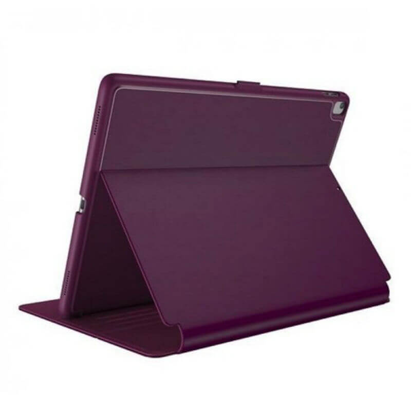 A plum colored speck balance folio supporting an iPad