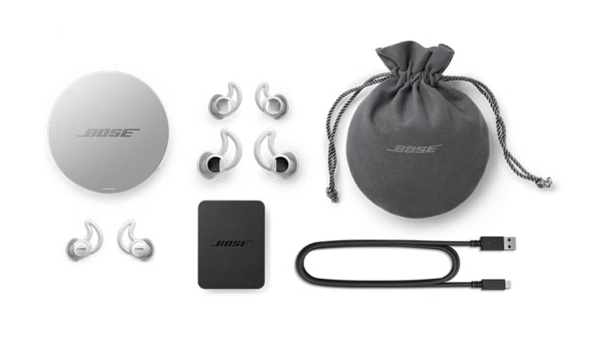 assorted Bose earbuds and accessories
