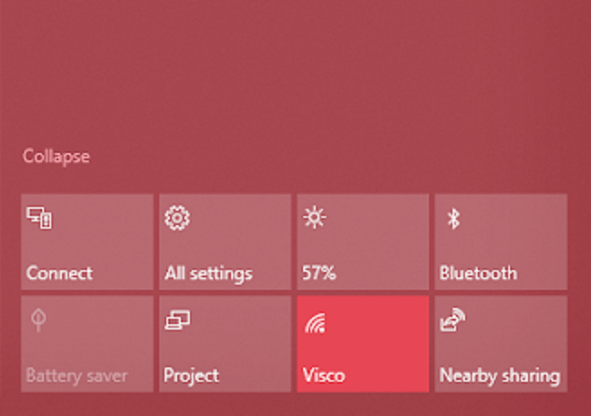 bluetooth settings on the windows 10 taskbar