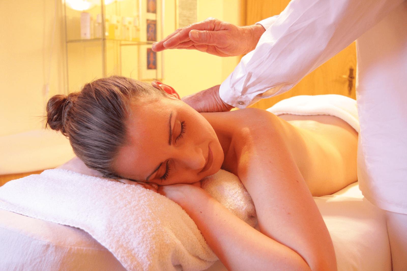 a content female getting a massage