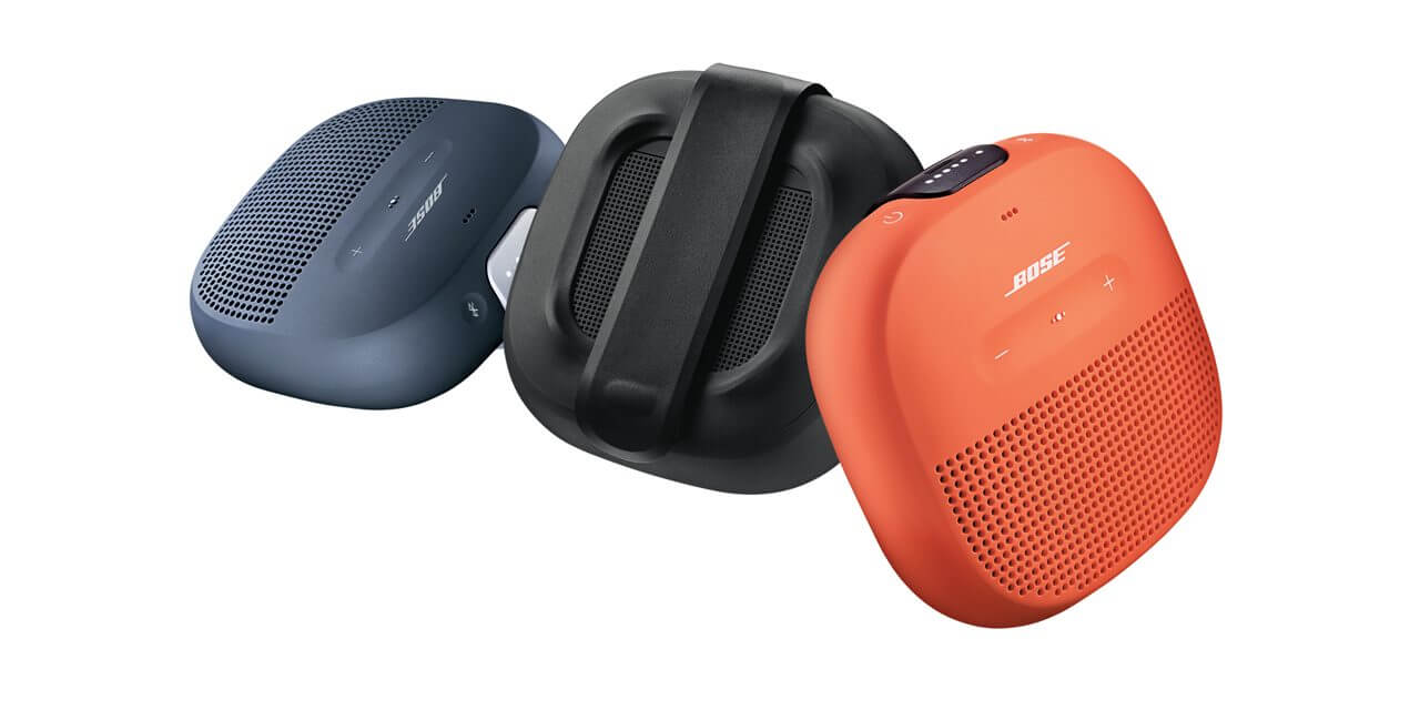 blue, black, and orange Bose Soundlink Micro Bluetooth Speakers