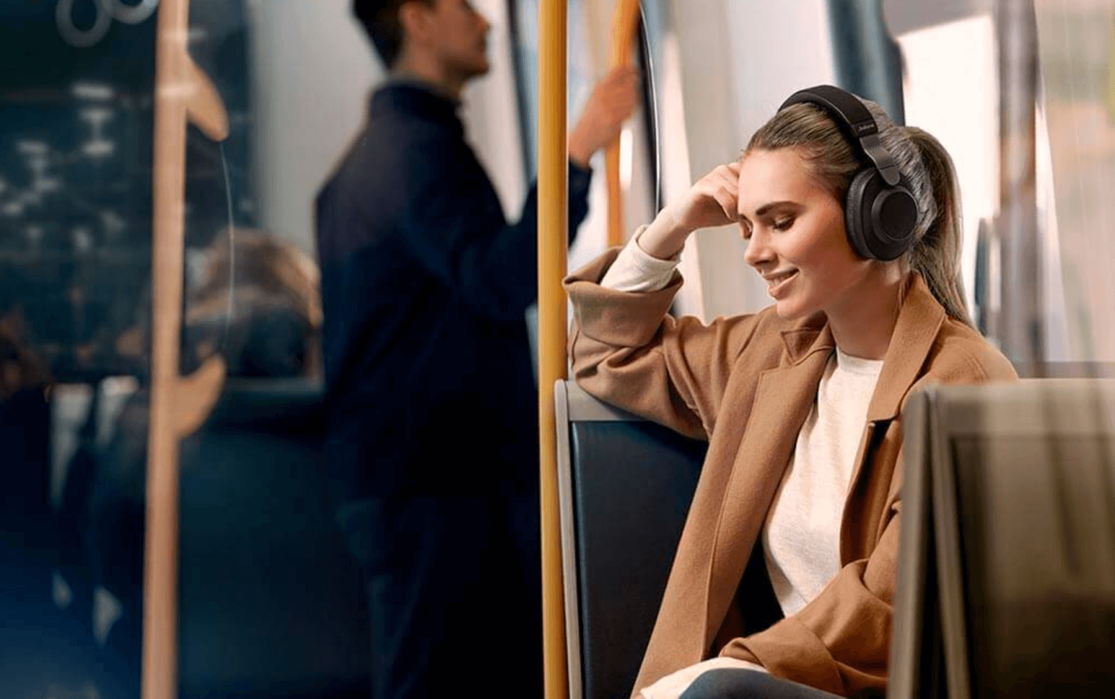 jabra headphones on a woman