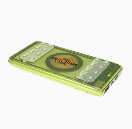 green phone case covered by suction cup banks