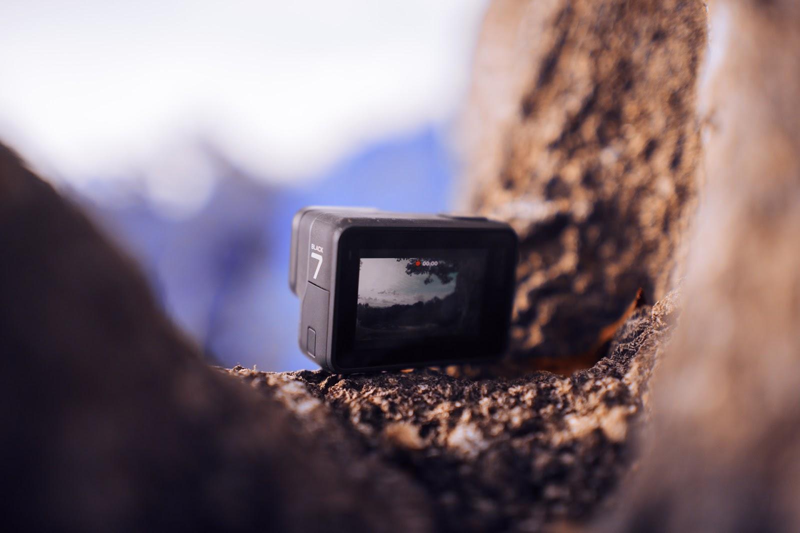 GoPro resting inside cliff