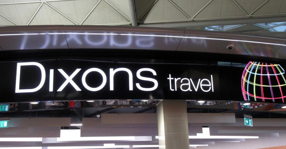 Dixons Travel logo seen at their store in London Stansted...
