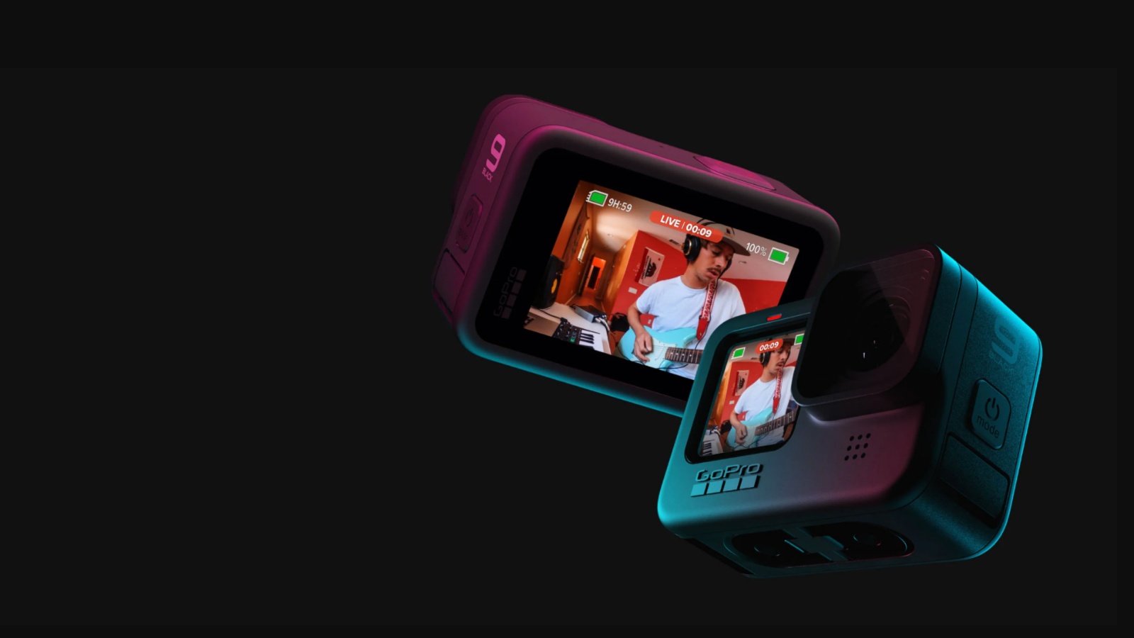 multiple different shots of the GoPro HERO9 camera on a black background