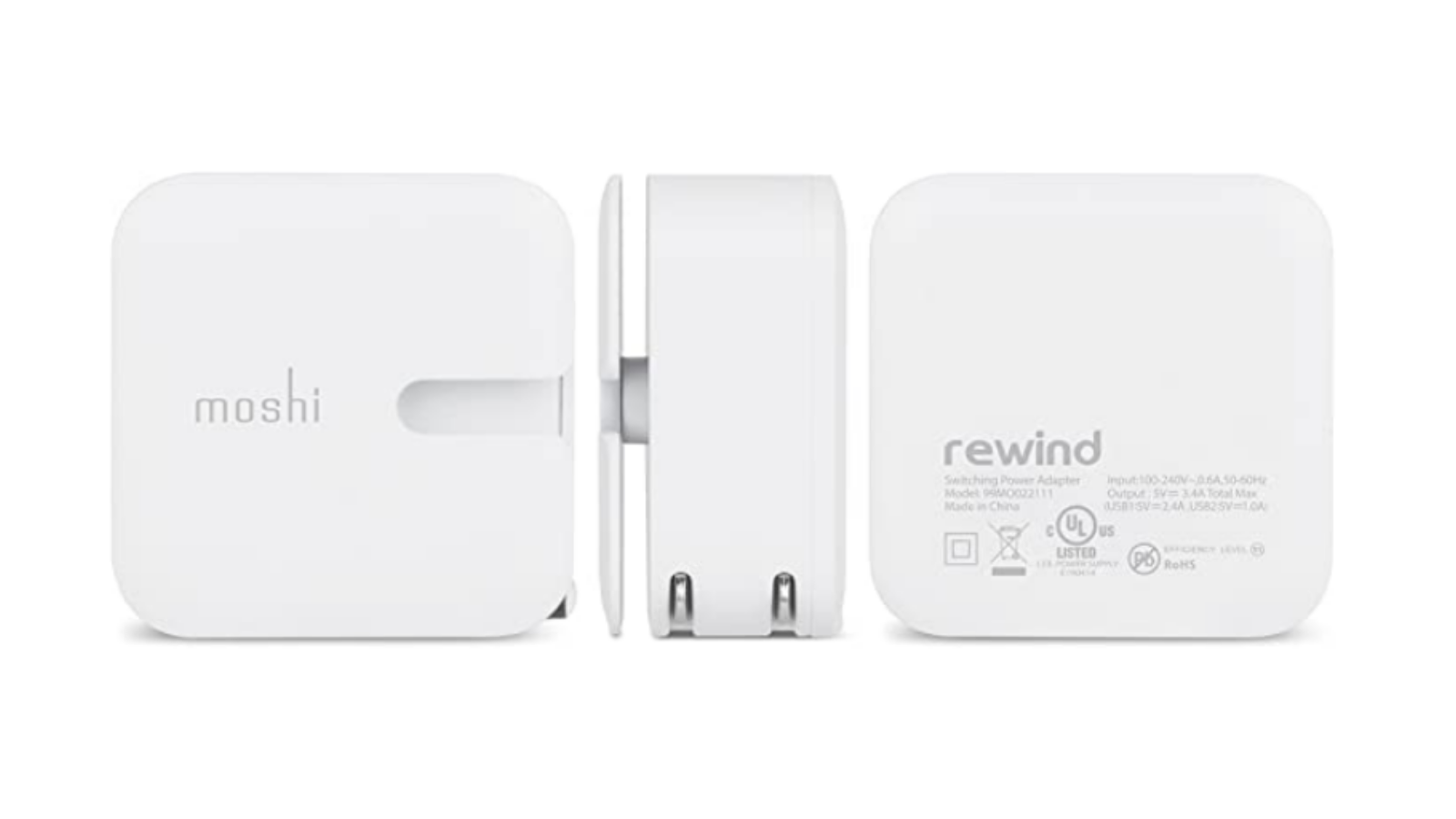 3 different angles of the Moshi Rewind Dual 2 charger