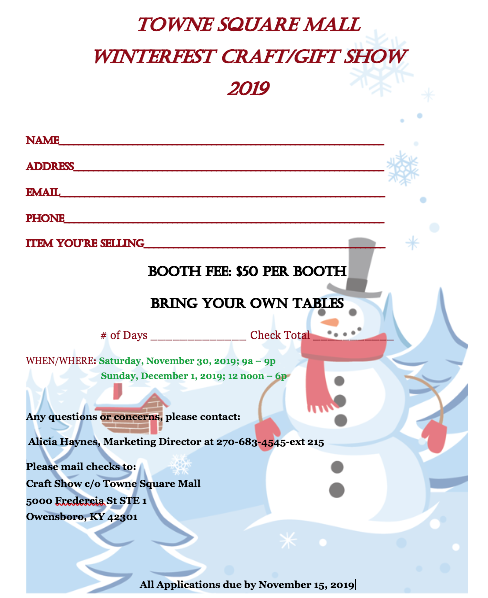 towne square mall winterfest show application