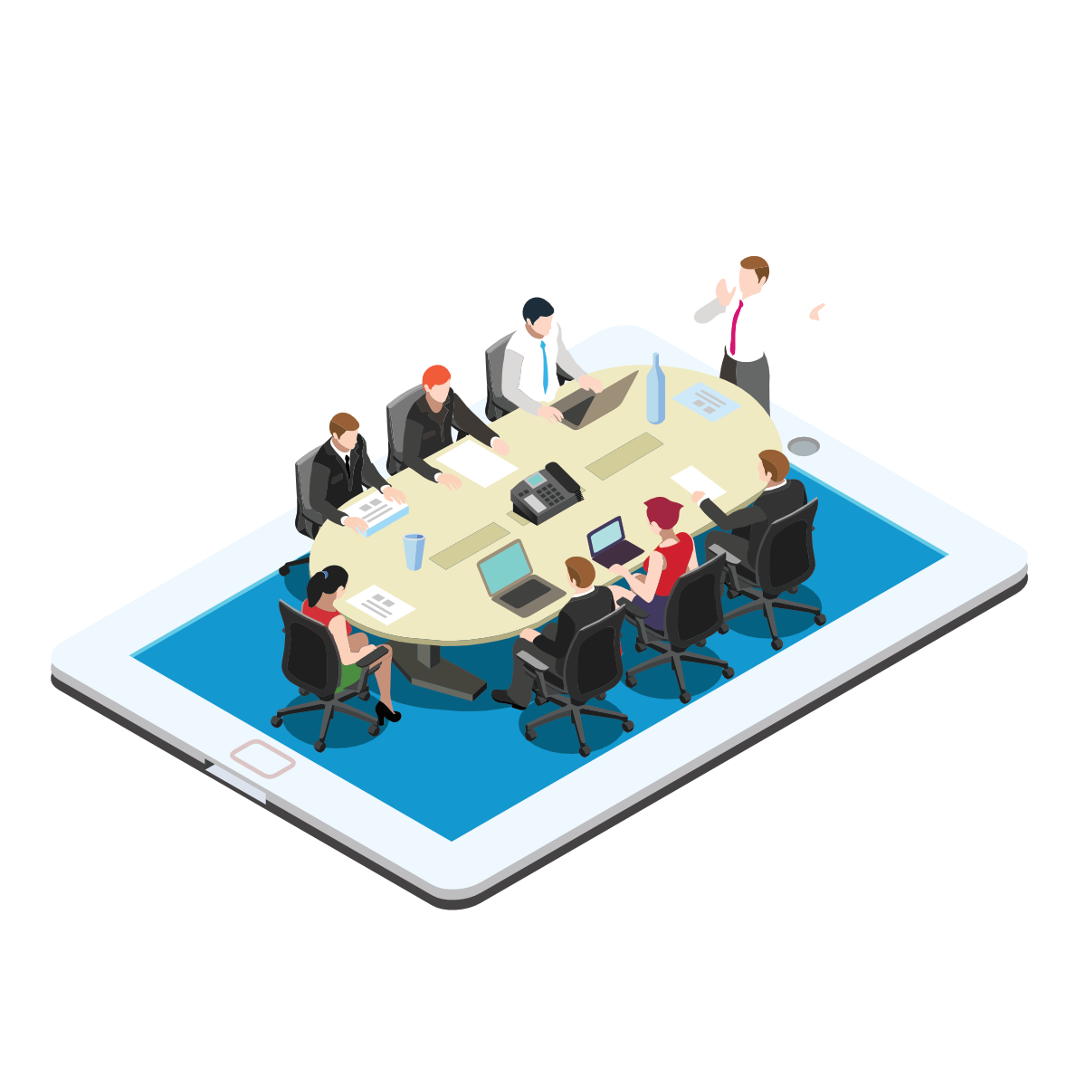 business meeting on tablet isometric puck