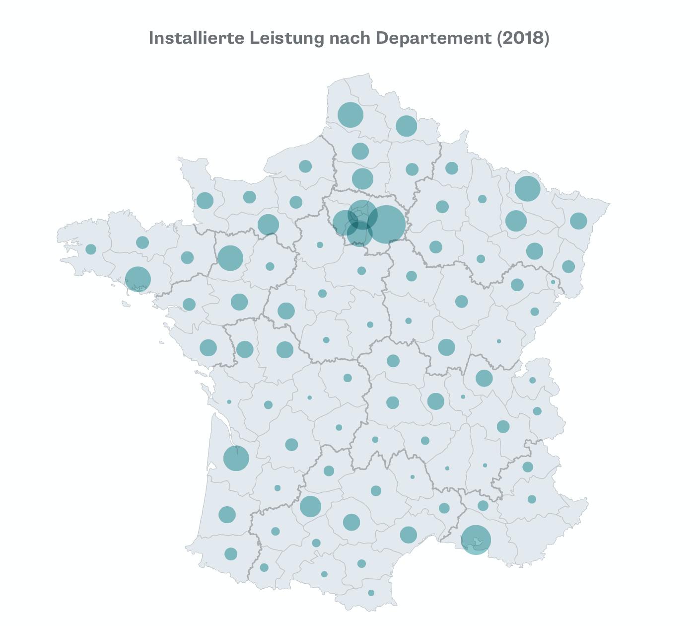 Installierte Leistung Biogas in Frankreich nach Departement