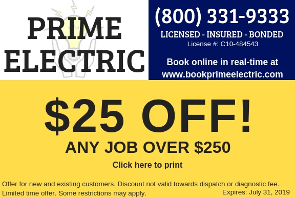 Prime Electric offers a 10% discount for all new customers