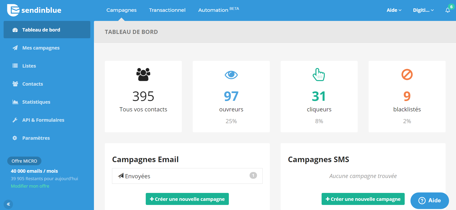 SendinBlue - Meilleure alternative Mailchimp
