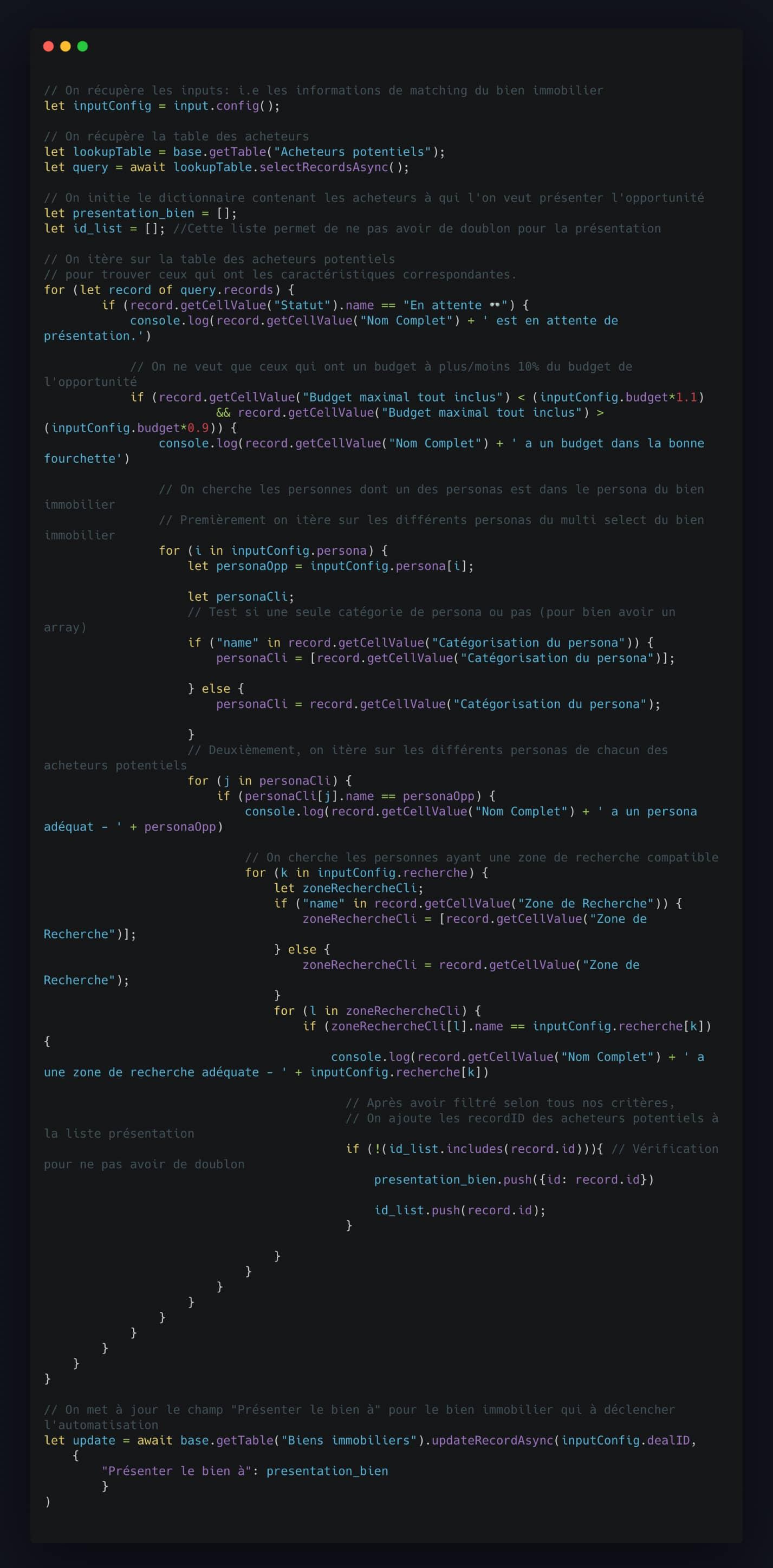 Script système de matching multicritères Airtable