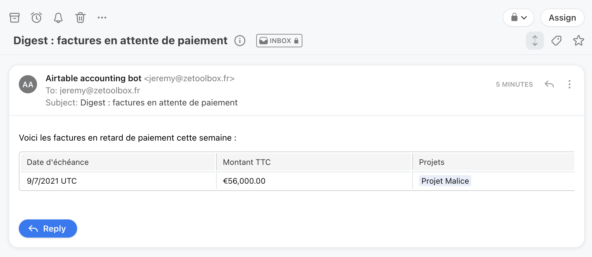 Airtable email automatique