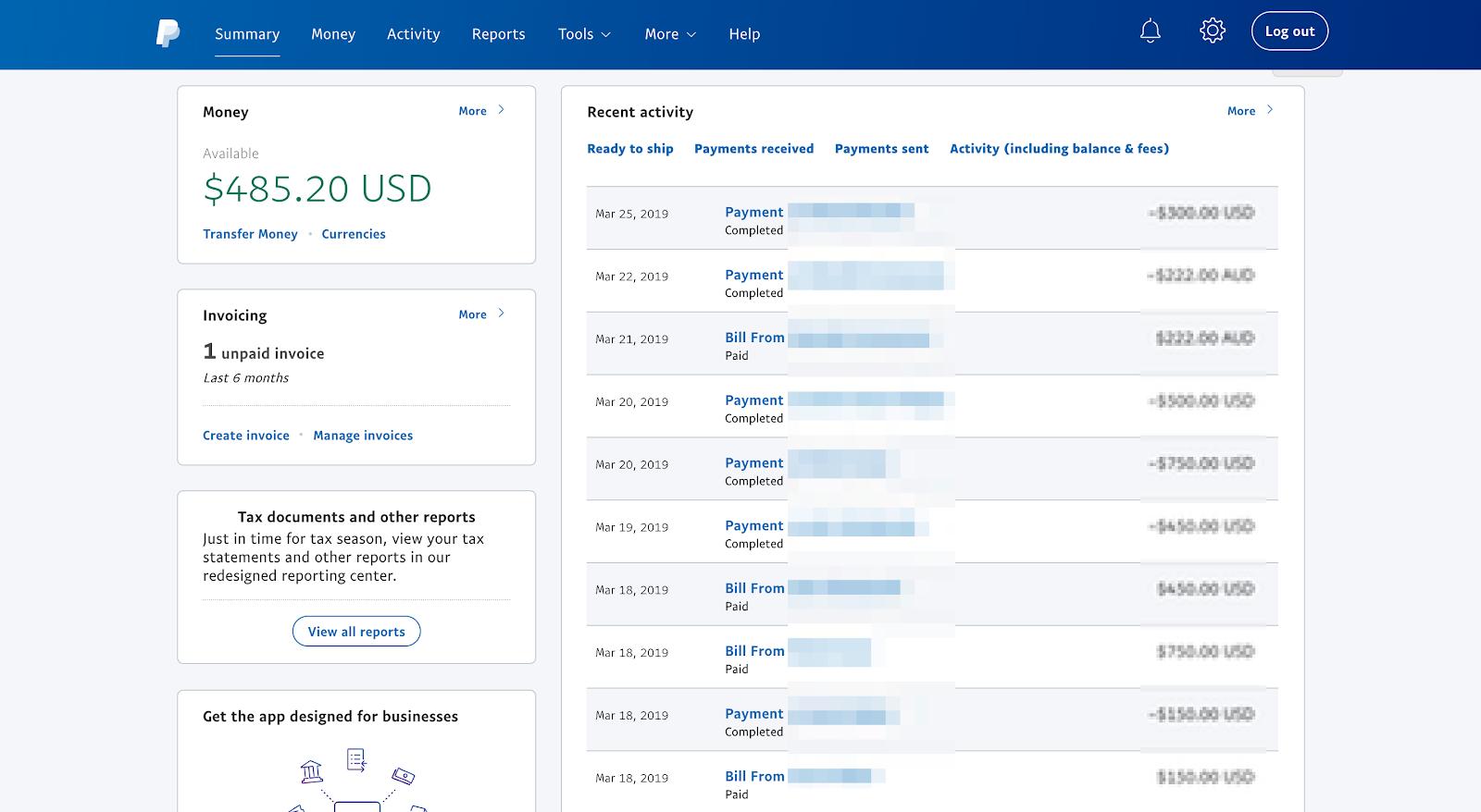 paypal screenshot