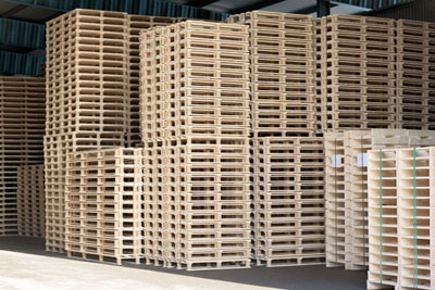 stacked new pallets