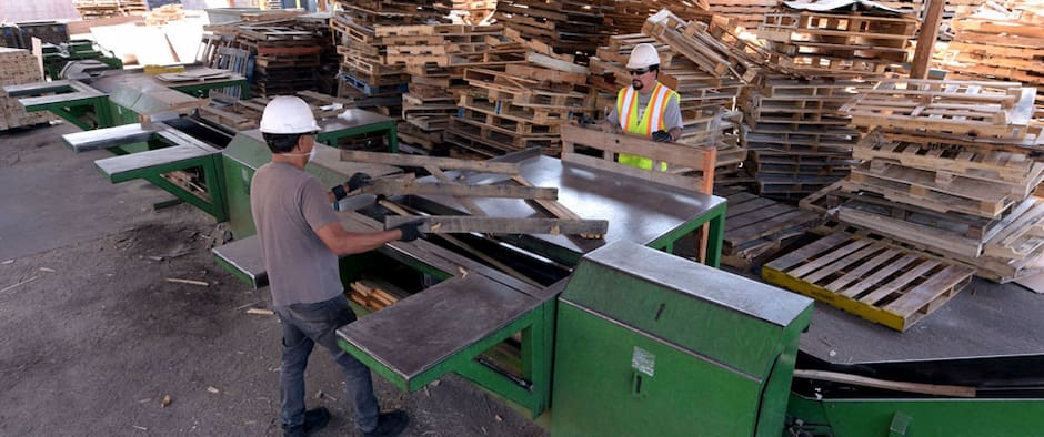 workers recycling pallets