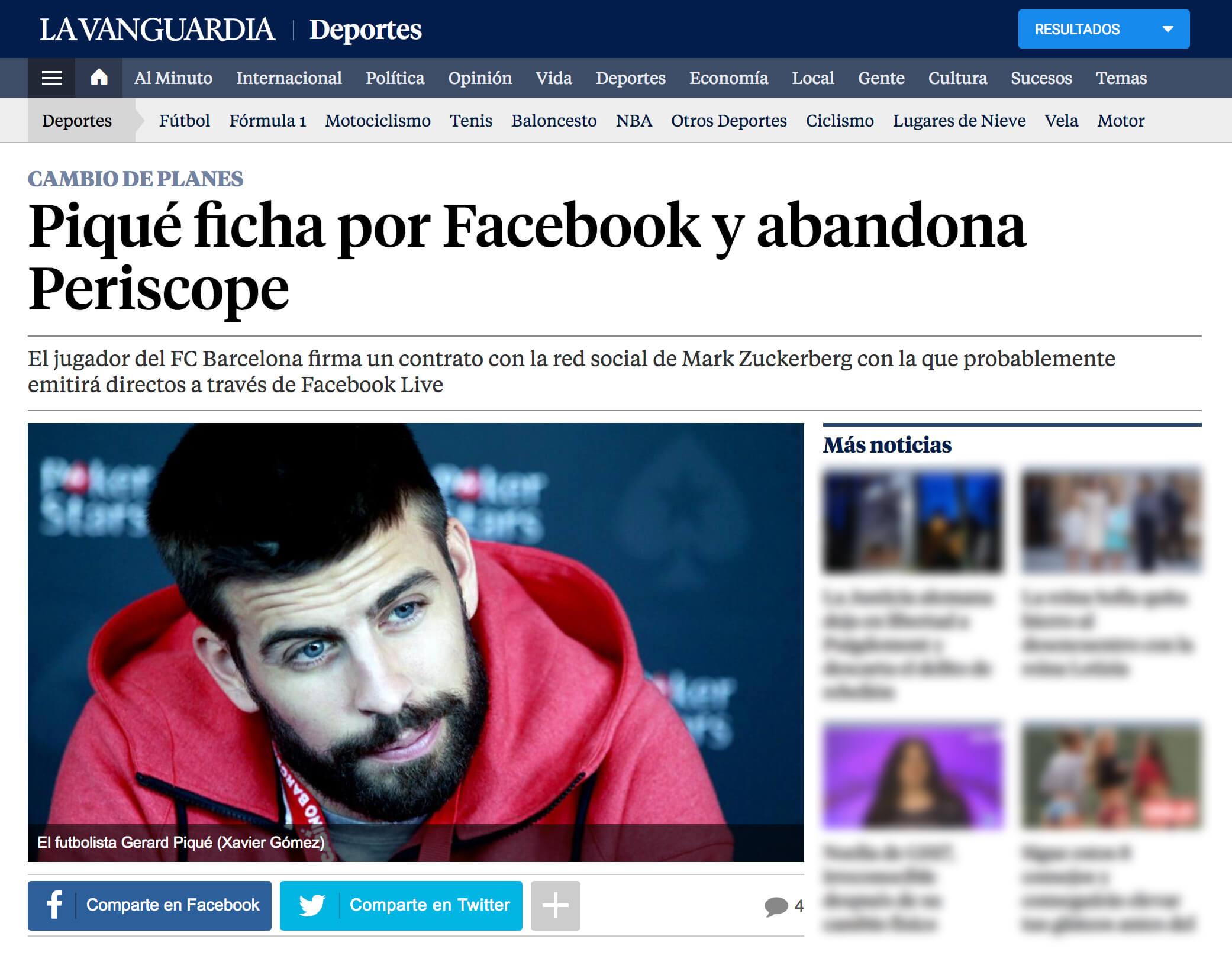 Gerard Piqué ficha por Facebook y abandona Periscope 18/06/2016