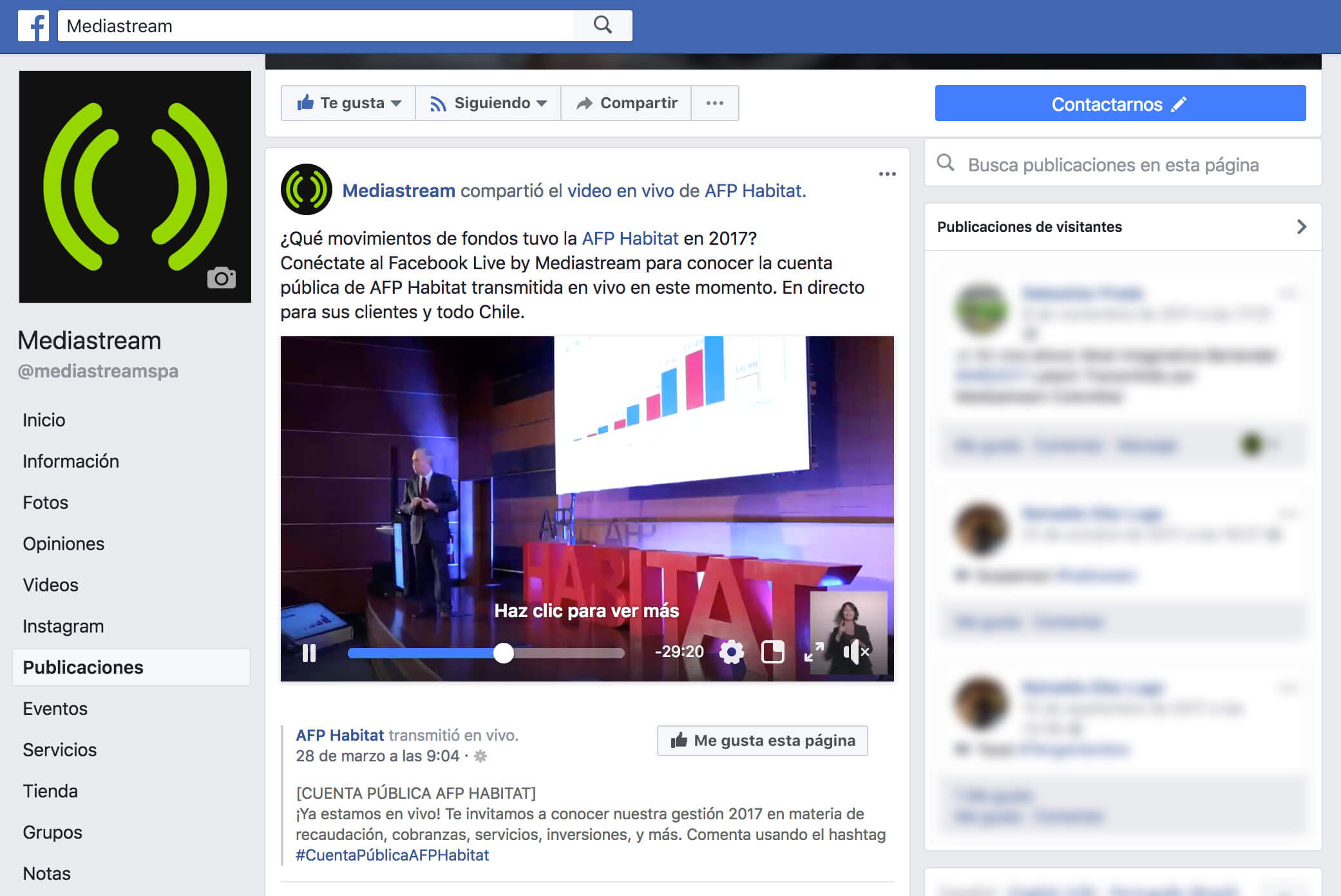 página facebook Mediastream, transmisión de evento por streaming