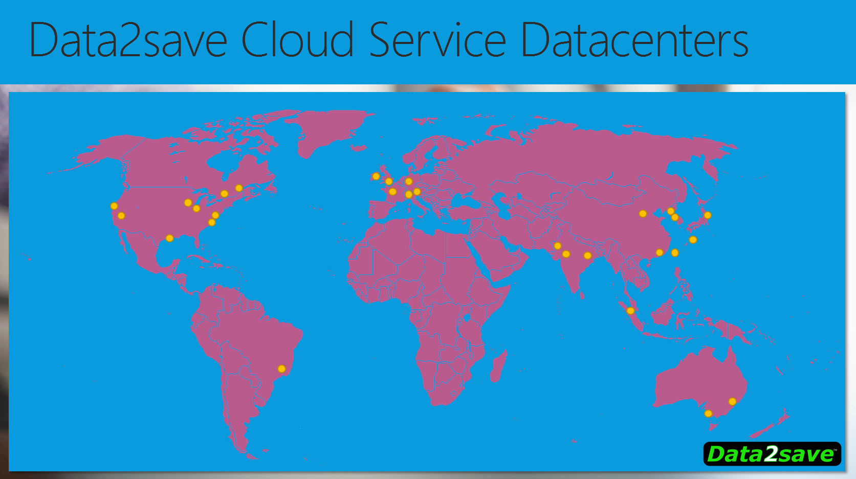 Data2save Worldwide Datacenters Map