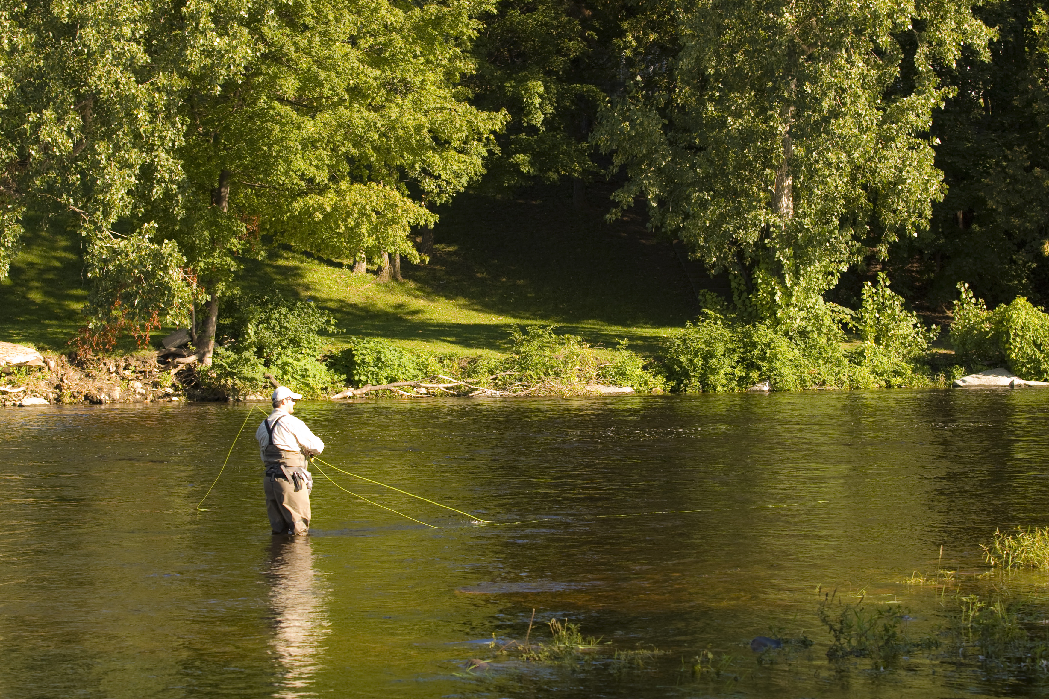 80eb314ae87 Man fly fishing on the Saranac River.