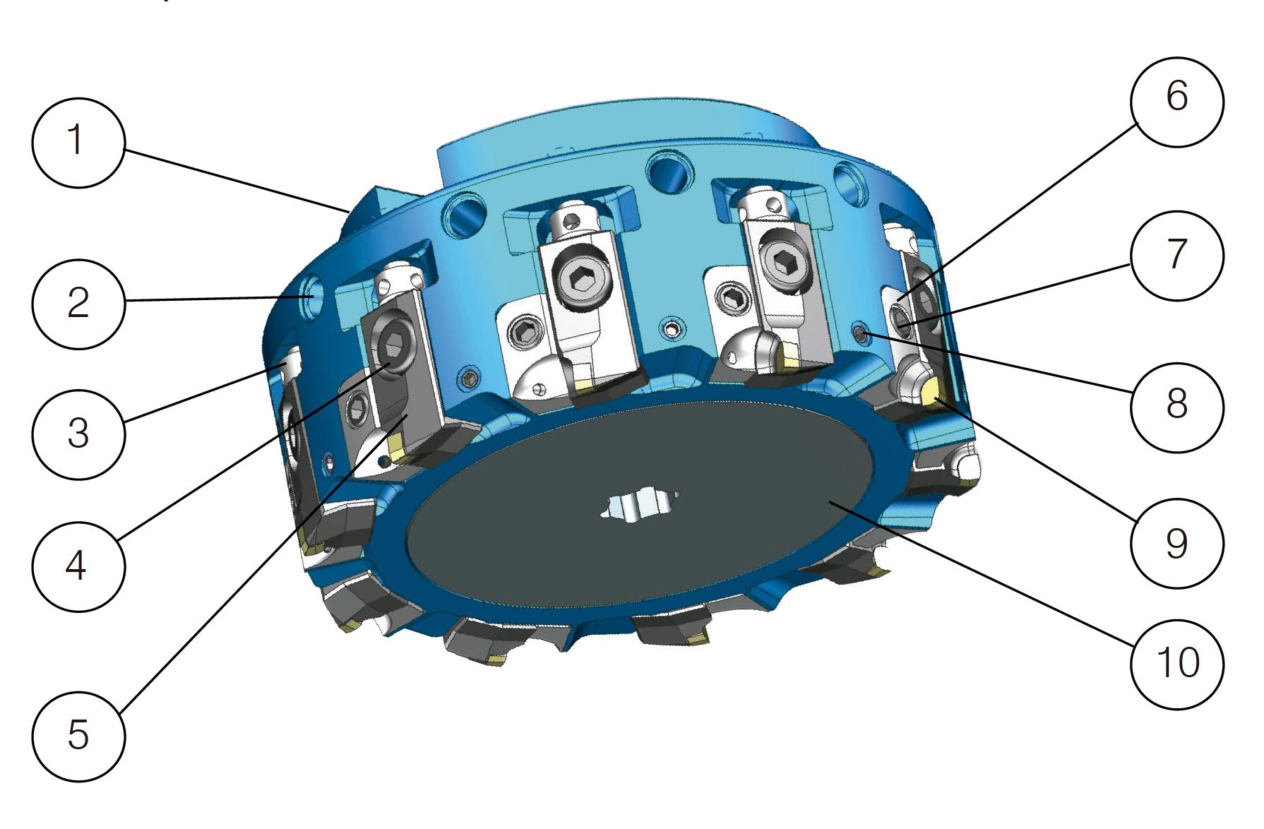 DPM02 Piezas de la herramienta de fresado frontal