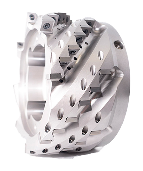 Preziss helix face milling cutter equipped with PCD or carbide ISO indexable inserts.