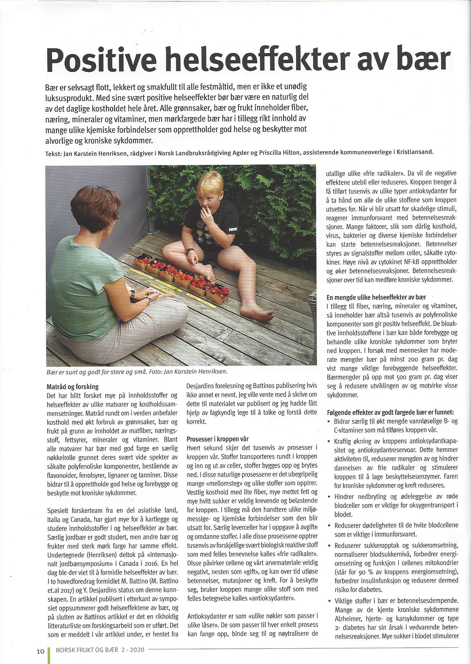 Artikkel: Positive helseefekter av bær
