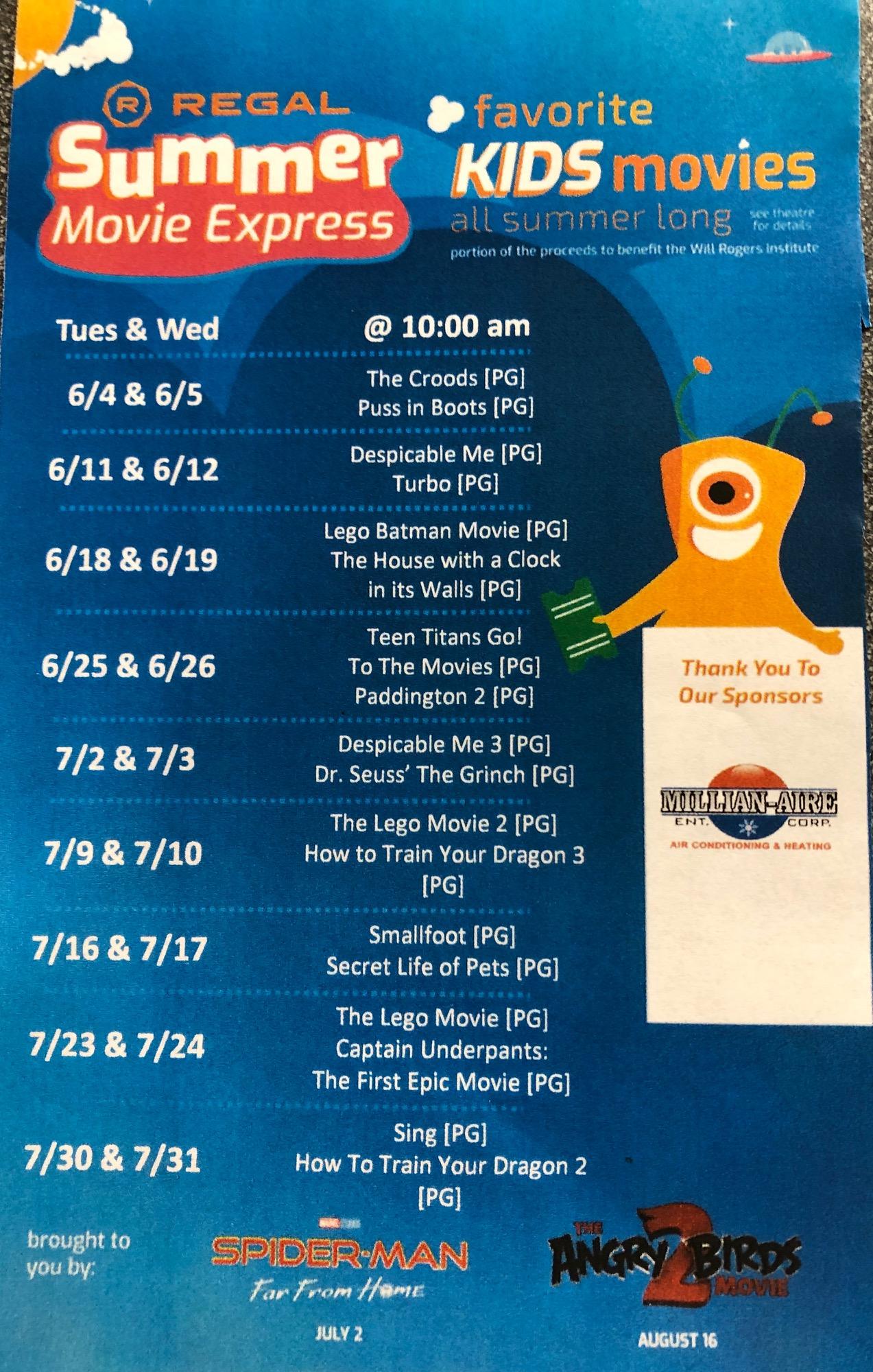 Regal summer kids movies schedule