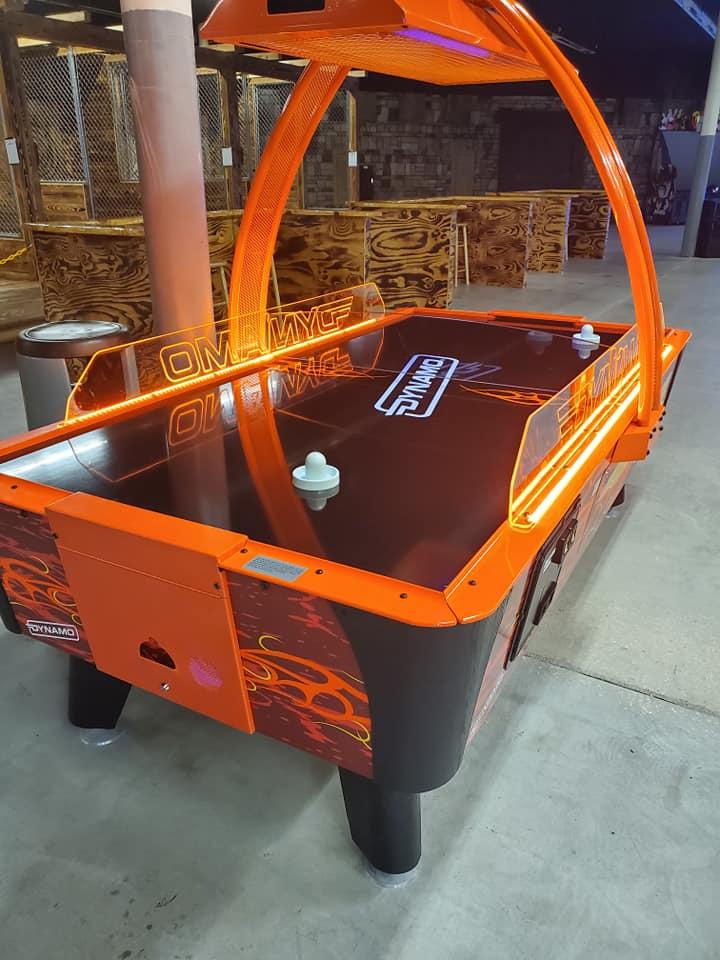 Photo of an air hockey table
