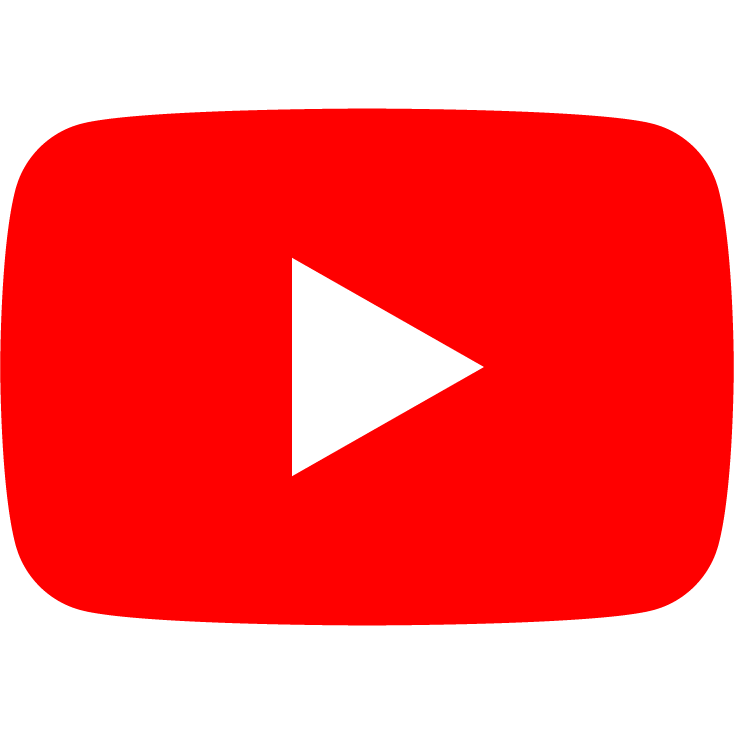 black youtube icon with link to store youtube page
