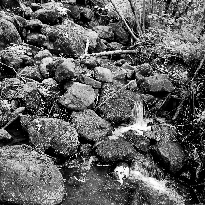 Black and white photograph of water and rocks, in Canada.