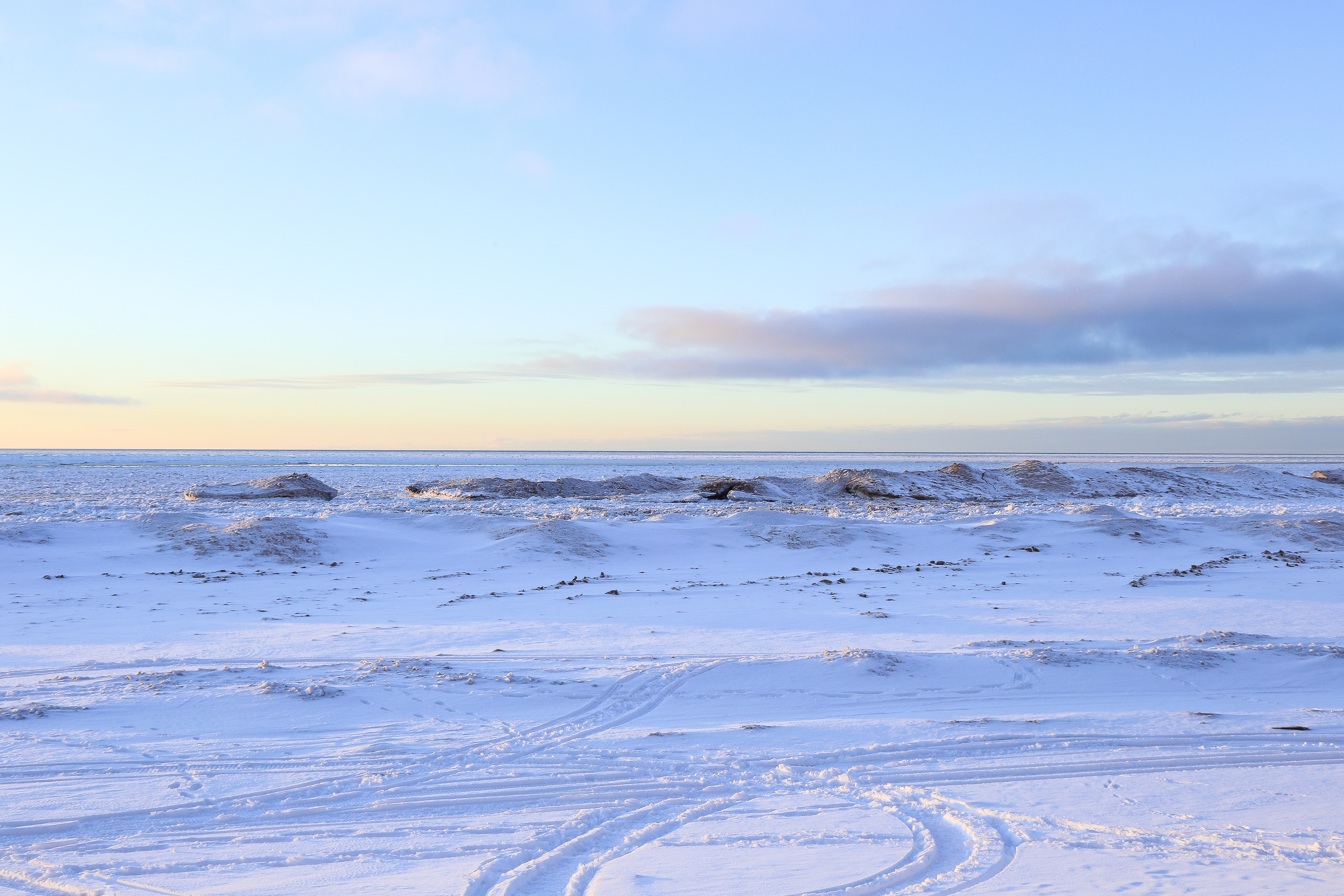 Winter landscape photography of snow and ice at Agate Beach, located in Toivola, Michigan.