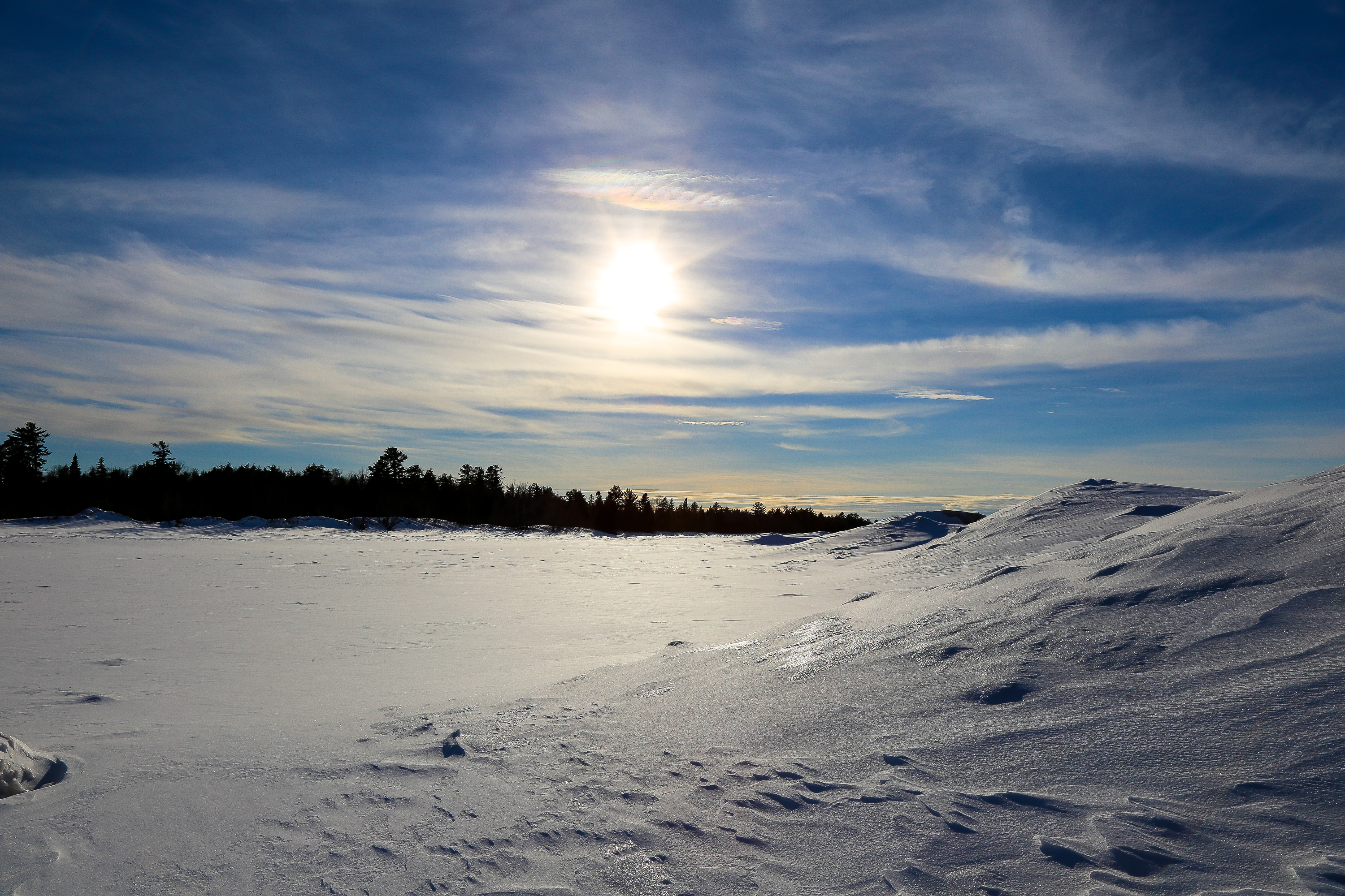 Landscape photography of snow and ice located at Misery Bay, located in Toivola, Michigan.