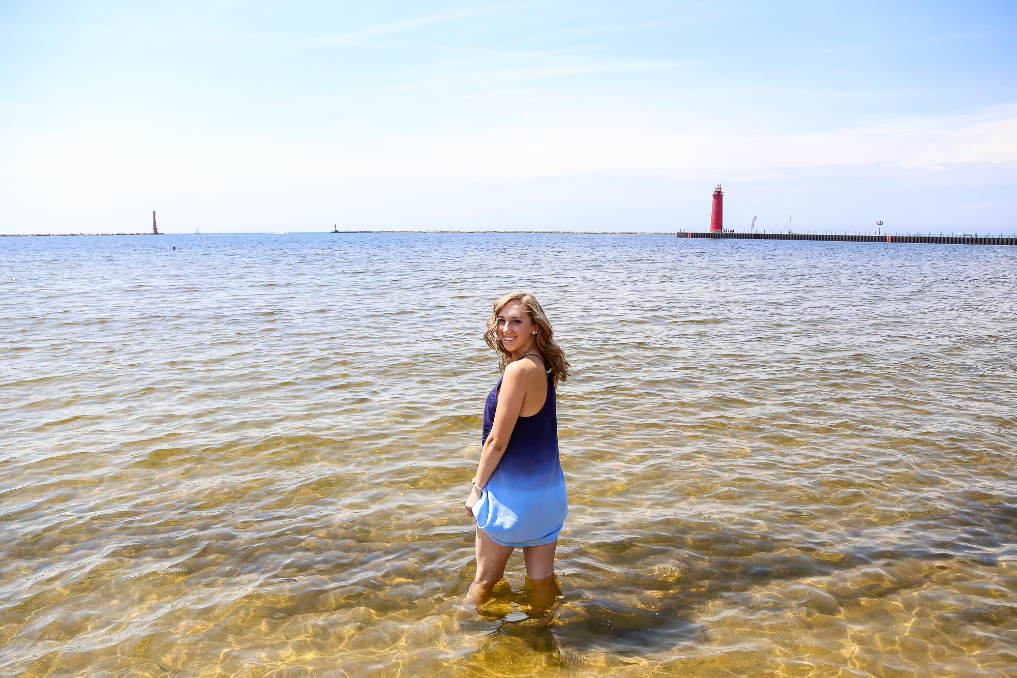 Natalie Stockel's senior photography session at the Muskegon Pier Light, located in Muskegon, Michigan.