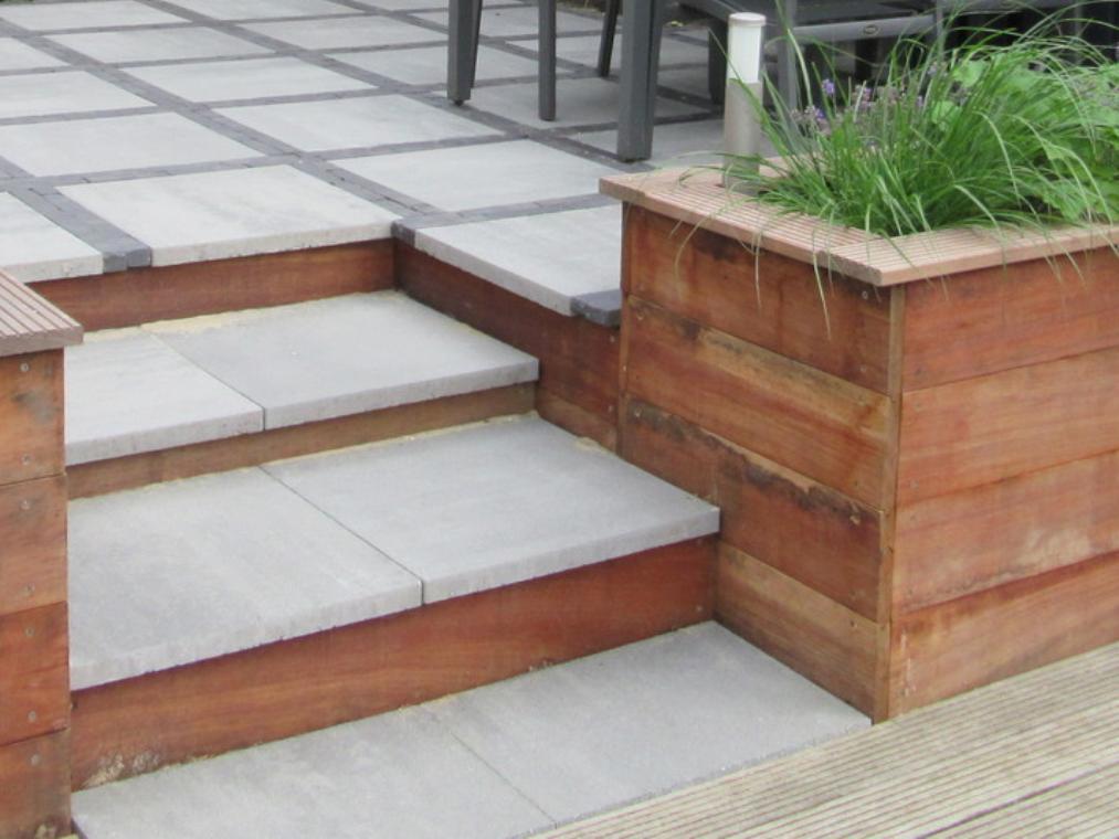 Hardhout met beton