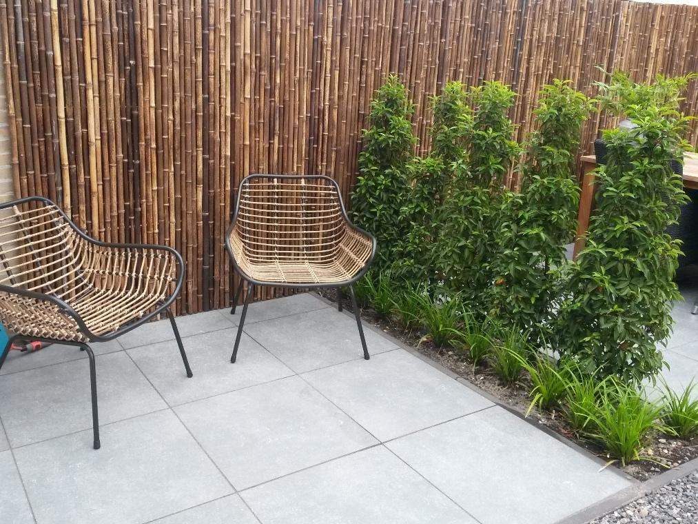 's Morgens staat het zonnetje op het kleine terras van keramische tegels met de schutting van bamboe op rol.