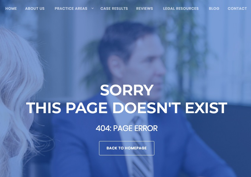Helpful Law Firm 404 Page Example
