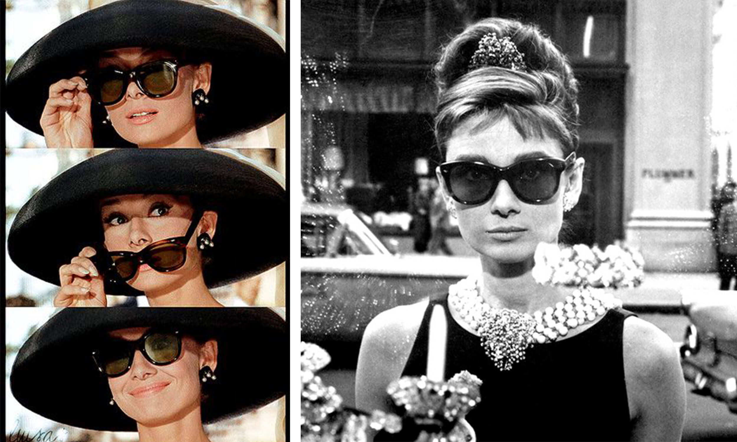 8a64ad71e52 Audrey Hepburn s oversized sunglasses in Breakfast at Tiffany s.