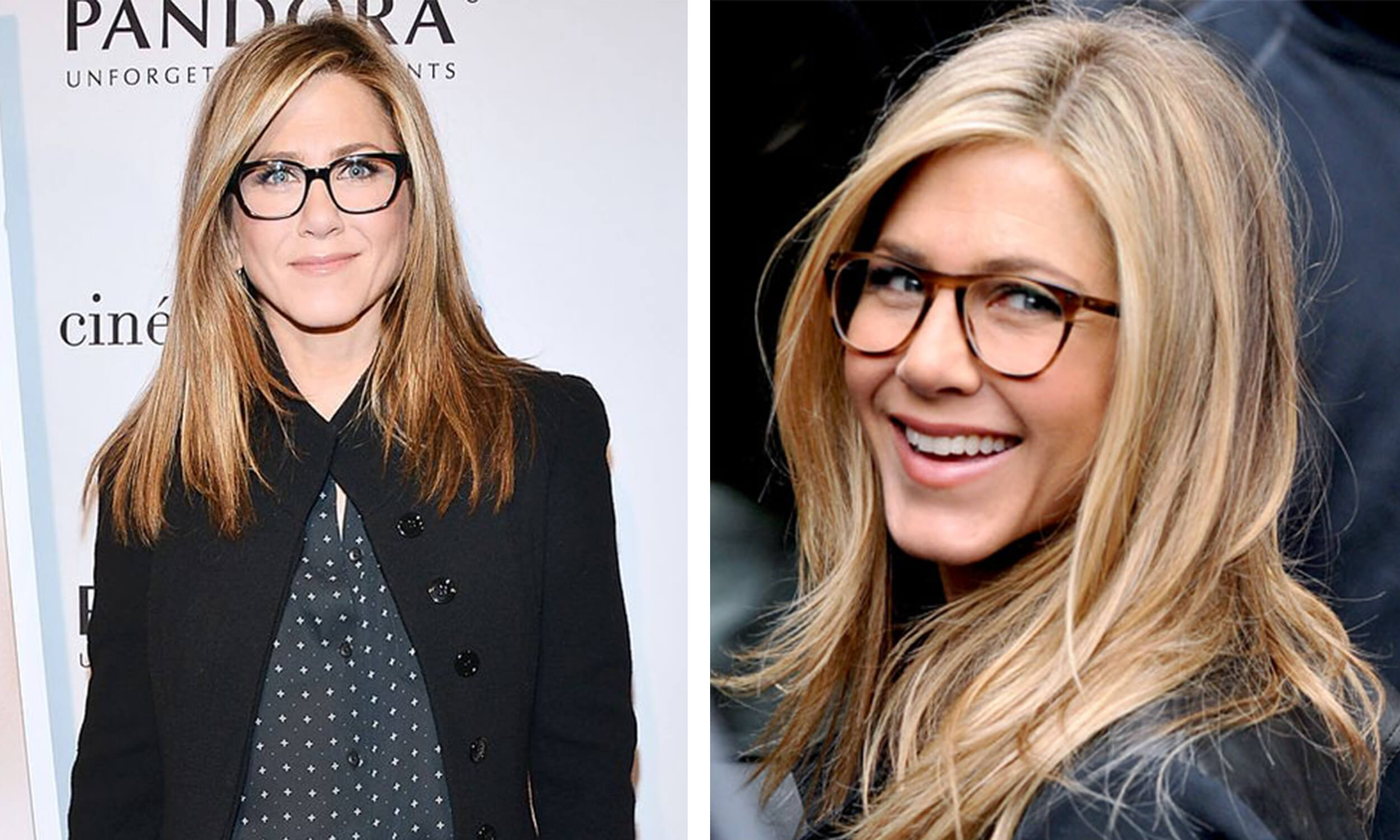 5f32051353c Jennifer Aniston looks classic in black oversized frames. She amps up her  oversized frames with a neutral pattern for a more relaxed look!